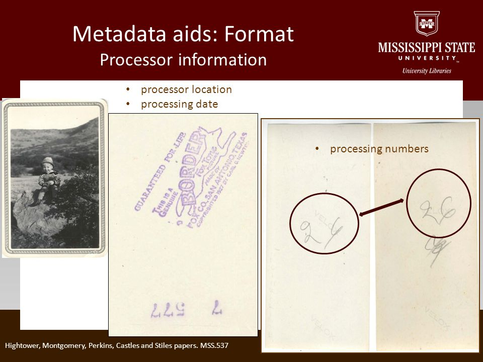Metadata aids: Format Processor information Hightower, Montgomery, Perkins, Castles and Stiles papers.