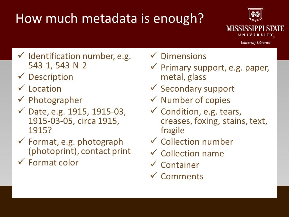 How much metadata is enough. Identification number, e.g.