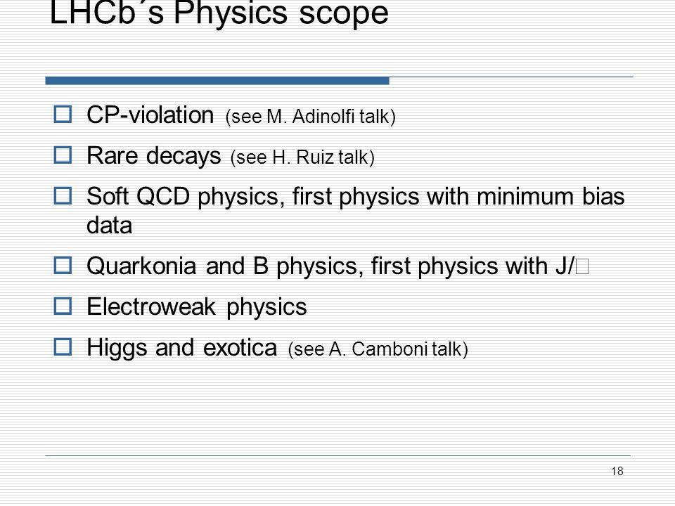 LHCb´s Physics scope CP-violation (see M. Adinolfi talk) Rare decays (see H.