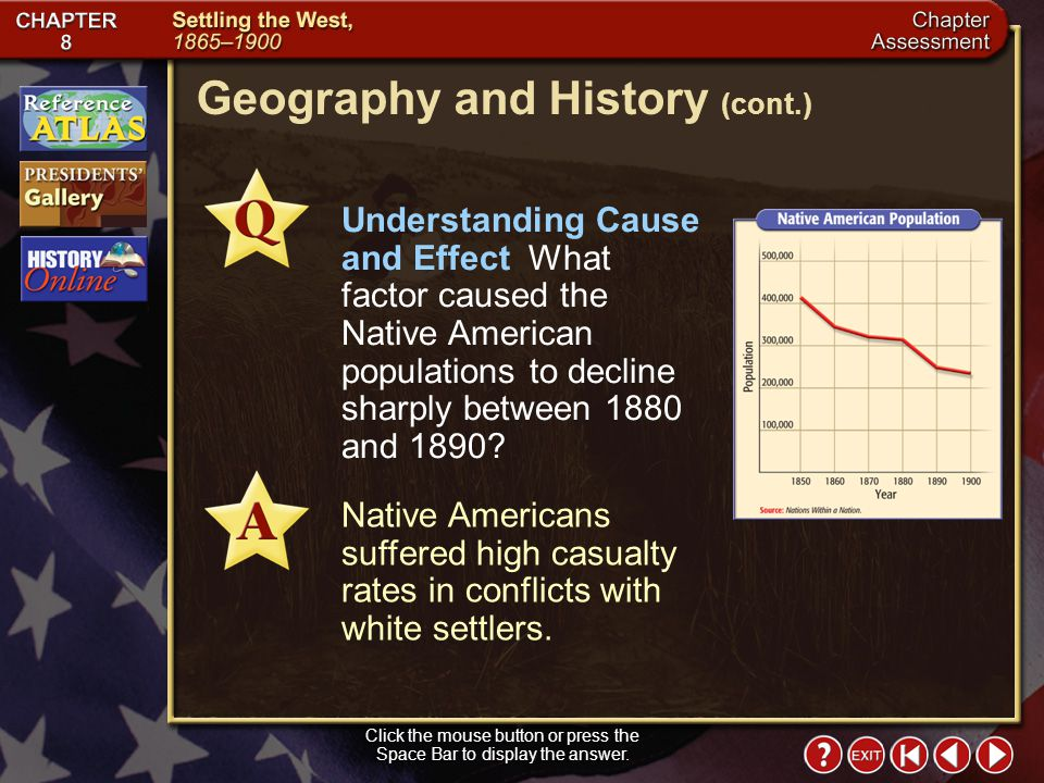Chapter Assessment 11 Interpreting Graphs What does the graph indicate about Native American populations between 1850 and 1900? The populations declin