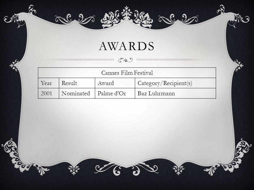 AWARDS Cannes Film Festival YearResultAwardCategory/Recipient(s) 2001NominatedPalme dOrBaz Luhrmann