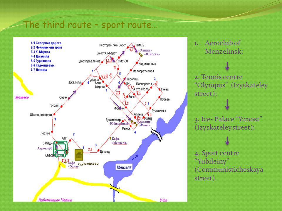The third route – sport route… 1.Aeroclub of Menzelinsk; 2. Tennis centre Olympus (Izyskateley street); 3. Ice- Palace Yunost (Izyskateley street); 4.
