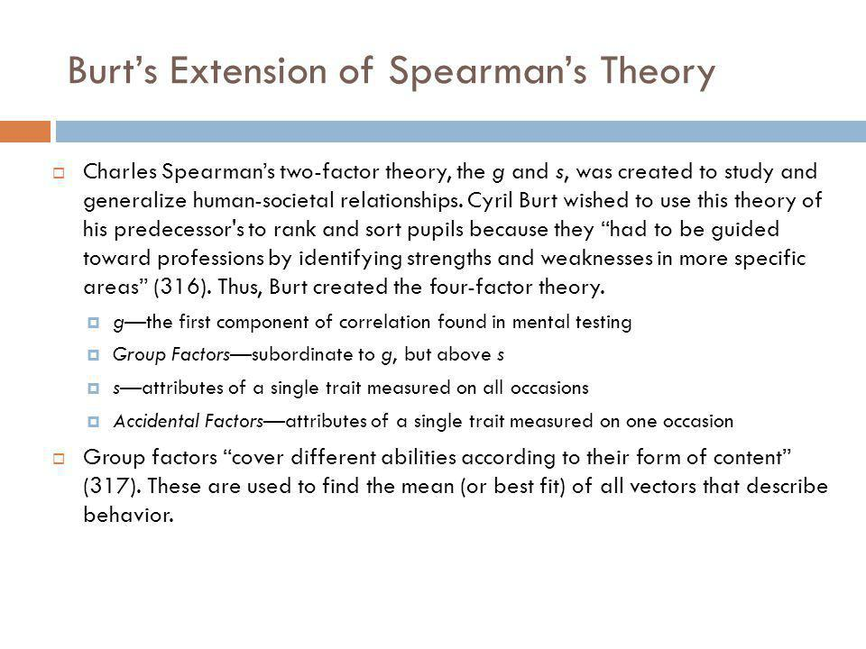 Burts Extension of Spearmans Theory Charles Spearmans two-factor theory, the g and s, was created to study and generalize human-societal relationships