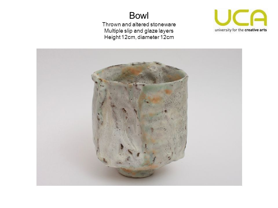 Bowl Thrown and altered stoneware Multiple slip and glaze layers Height 12cm, diameter 12cm