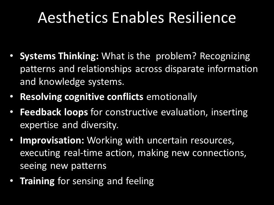 Aesthetics Enables Resilience Systems Thinking: What is the problem.