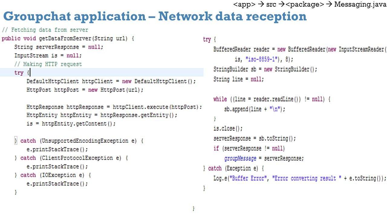 Groupchat application – Network data reception src Messaging.java