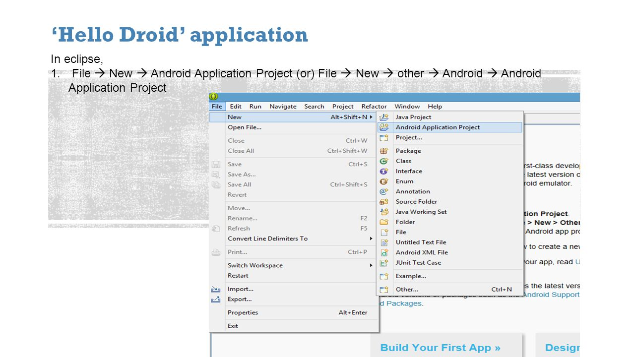 Hello Droid application In eclipse, 1.