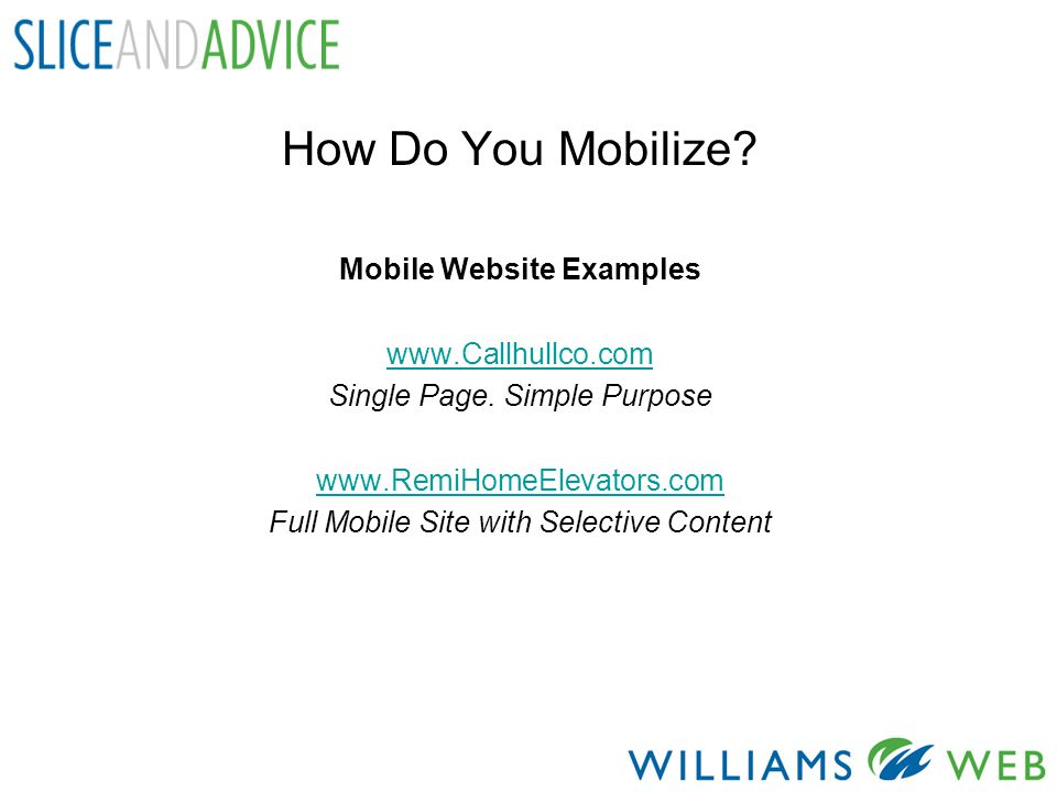 How Do You Mobilize. Mobile Website Examples   Single Page.