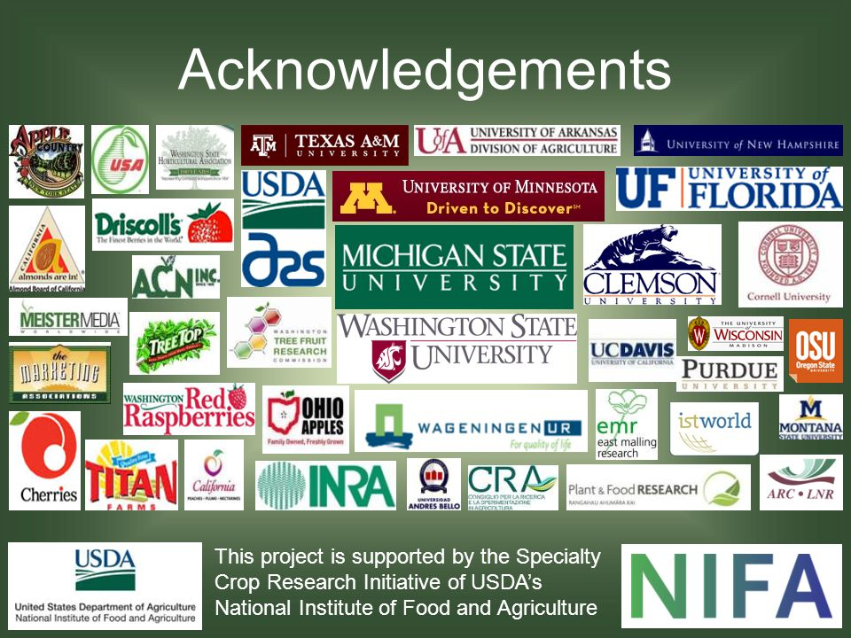 Acknowledgements This project is supported by the Specialty Crop Research Initiative of USDAs National Institute of Food and Agriculture