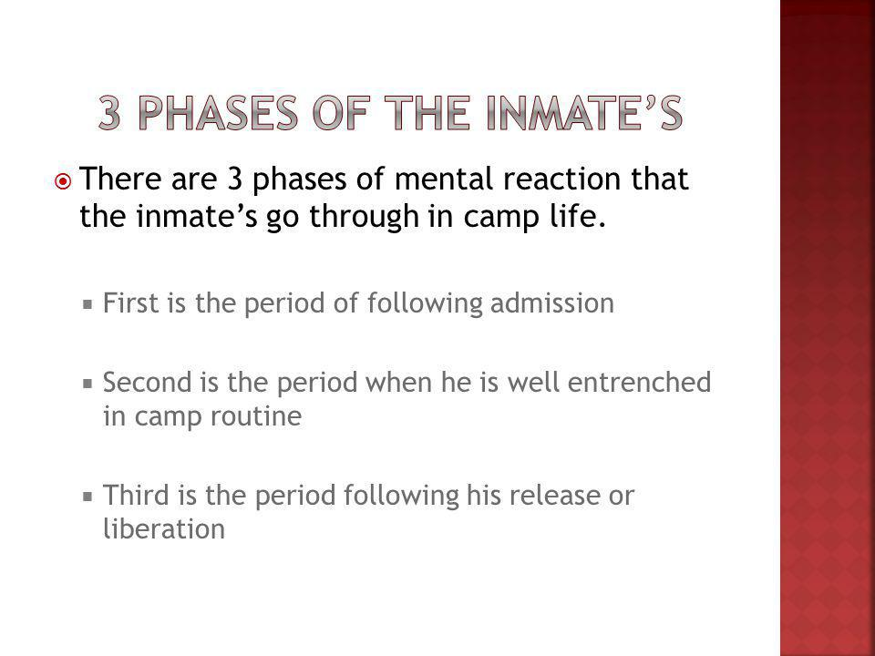 There are 3 phases of mental reaction that the inmates go through in camp life.