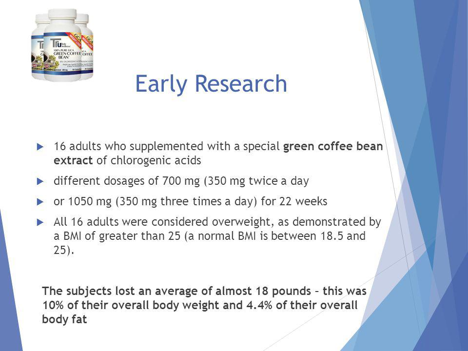 Trial Specifics 22 week pilot study participants taking GCA green coffee bean extract Lost an average of 17 pounds Lost over 10% of total body weight Decreased overall body fat by 16% Lost weight naturally with no change in diet or exercise Exhibited no visible side effects