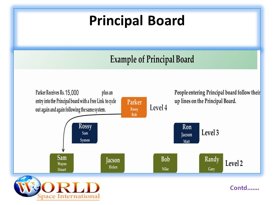 2. Principal Board: The top distributor from the Primary Board who moved out, will be placed in the Principal Board, following his sponsoring up-line