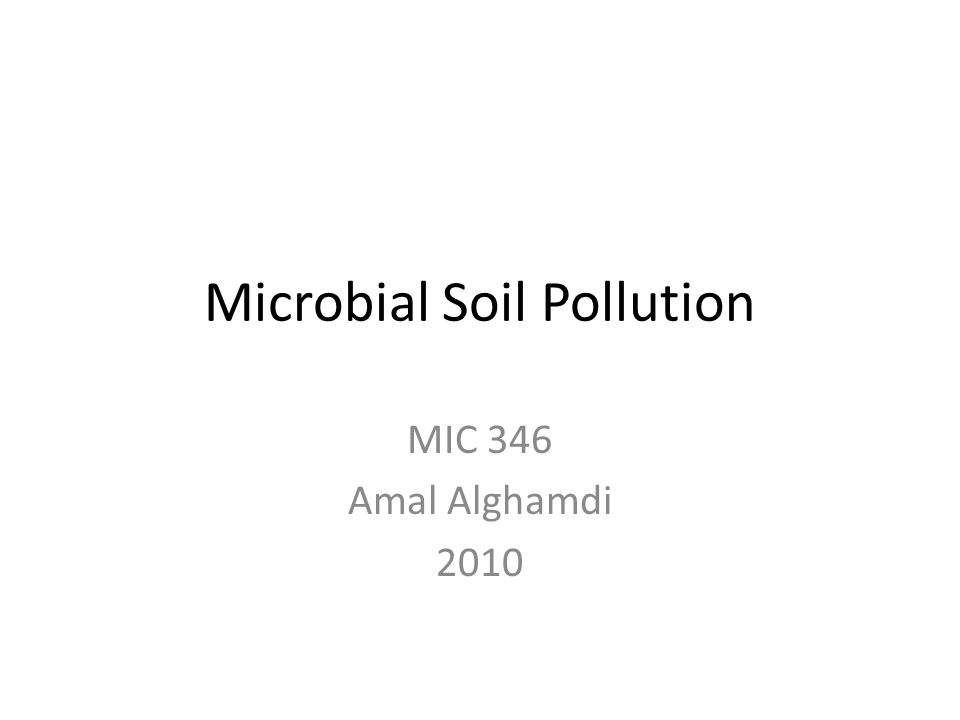 Microbial Soil Pollution MIC 346 Amal Alghamdi 2010