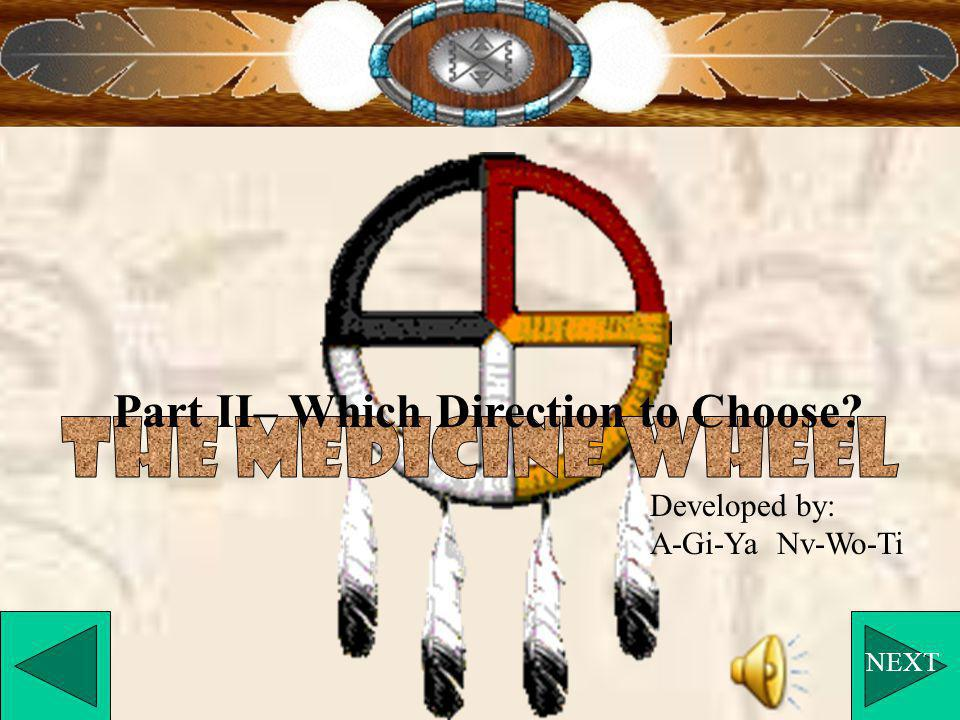 Part II– Which Direction to Choose? NEXT Developed by: A-Gi-Ya Nv-Wo-Ti
