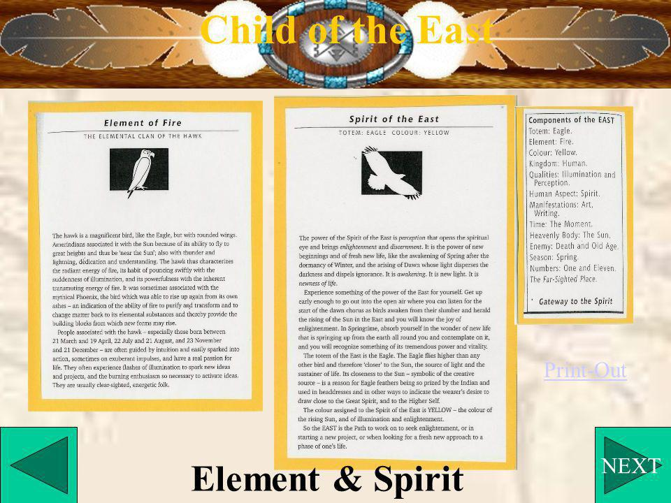 NEXT Child of the East Element & Spirit Print-Out