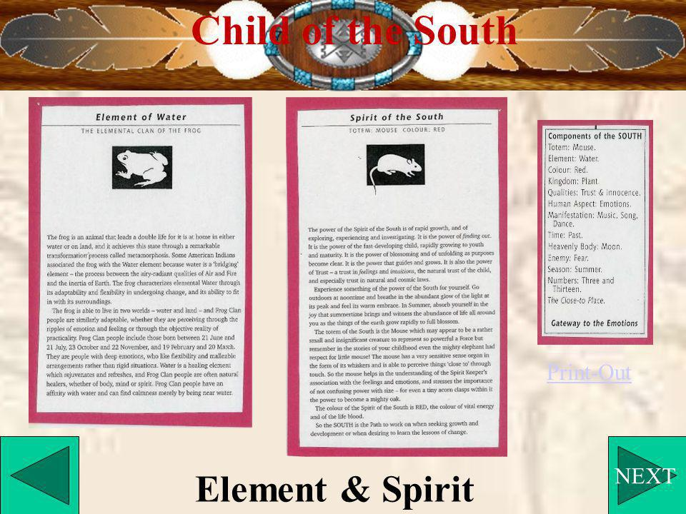 NEXT Child of the South Element & Spirit Print-Out