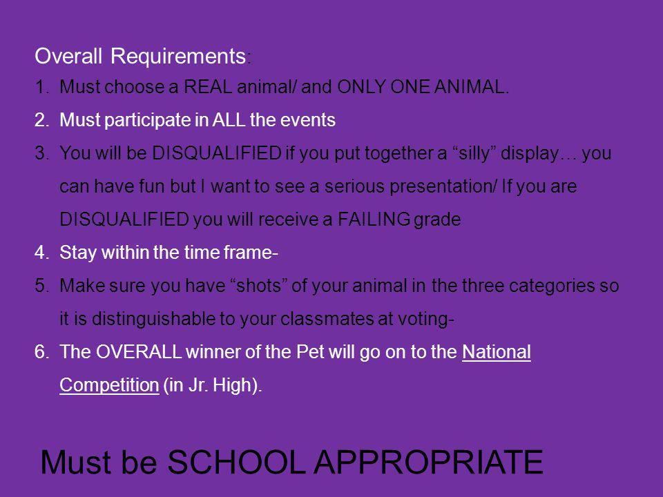 Must be SCHOOL APPROPRIATE Overall Requirements : 1.Must choose a REAL animal/ and ONLY ONE ANIMAL.