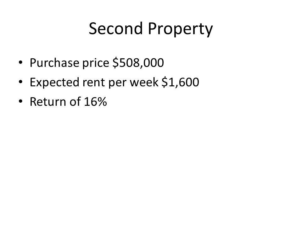 Second Property Purchase price $508,000 Expected rent per week $1,600 Return of 16%