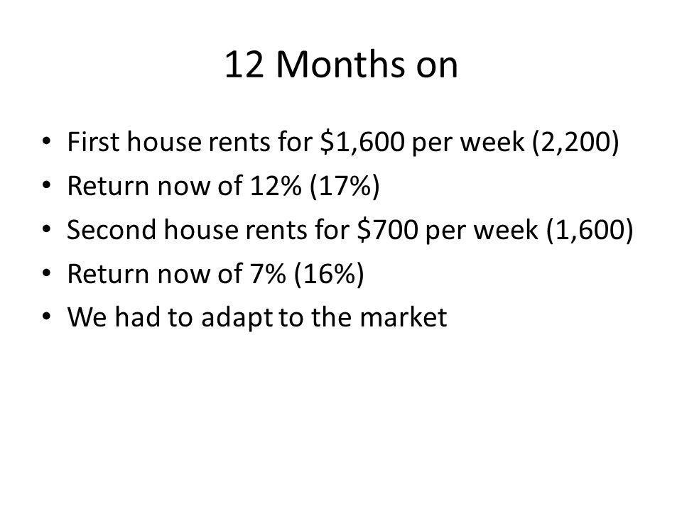 12 Months on First house rents for $1,600 per week (2,200) Return now of 12% (17%) Second house rents for $700 per week (1,600) Return now of 7% (16%) We had to adapt to the market
