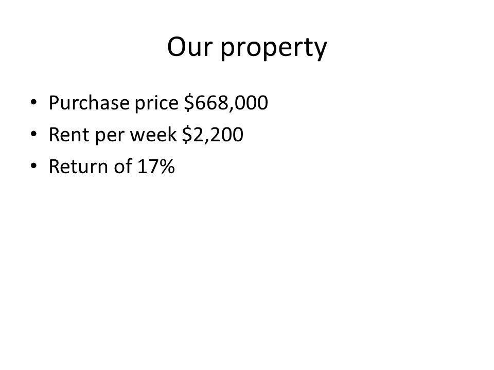 Our property Purchase price $668,000 Rent per week $2,200 Return of 17%