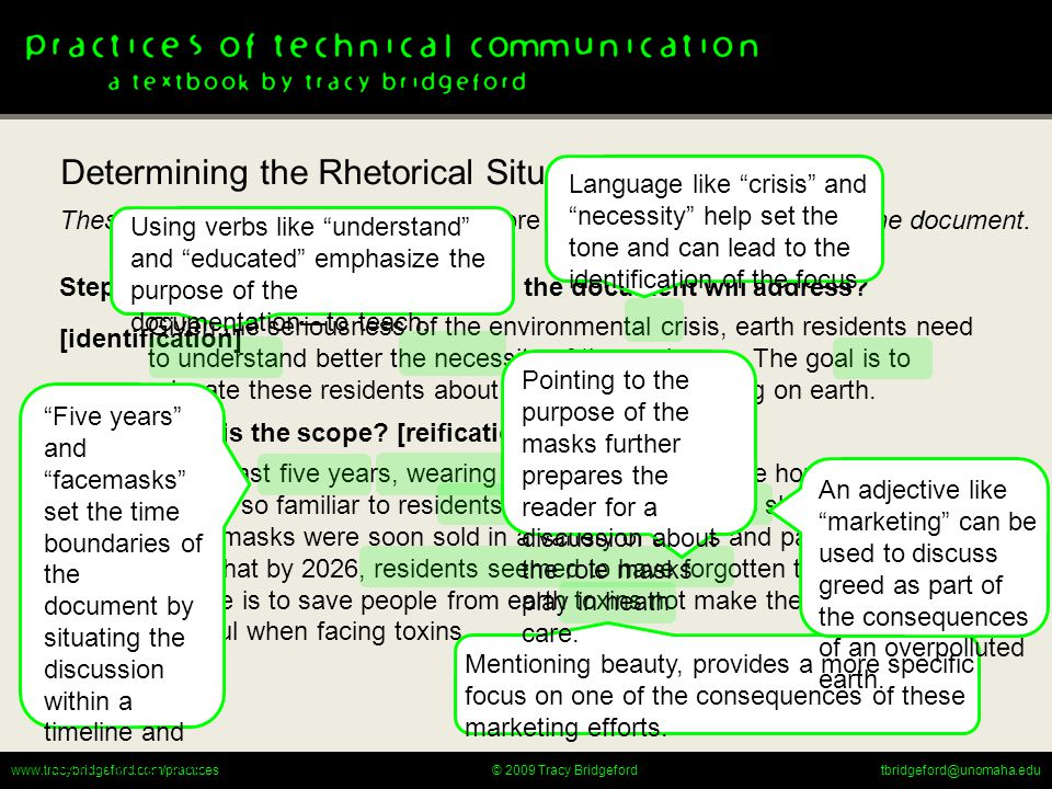 www.tracybridgeford.com/practicestbridgeford@unomaha.edu© 2009 Tracy Bridgeford Step 3: What rhetorical action is required.