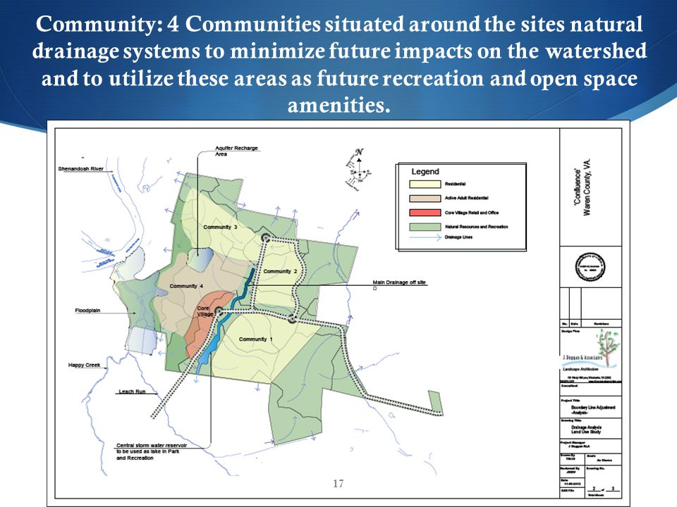 Community: 4 Communities situated around the sites natural drainage systems to minimize future impacts on the watershed and to utilize these areas as future recreation and open space amenities.