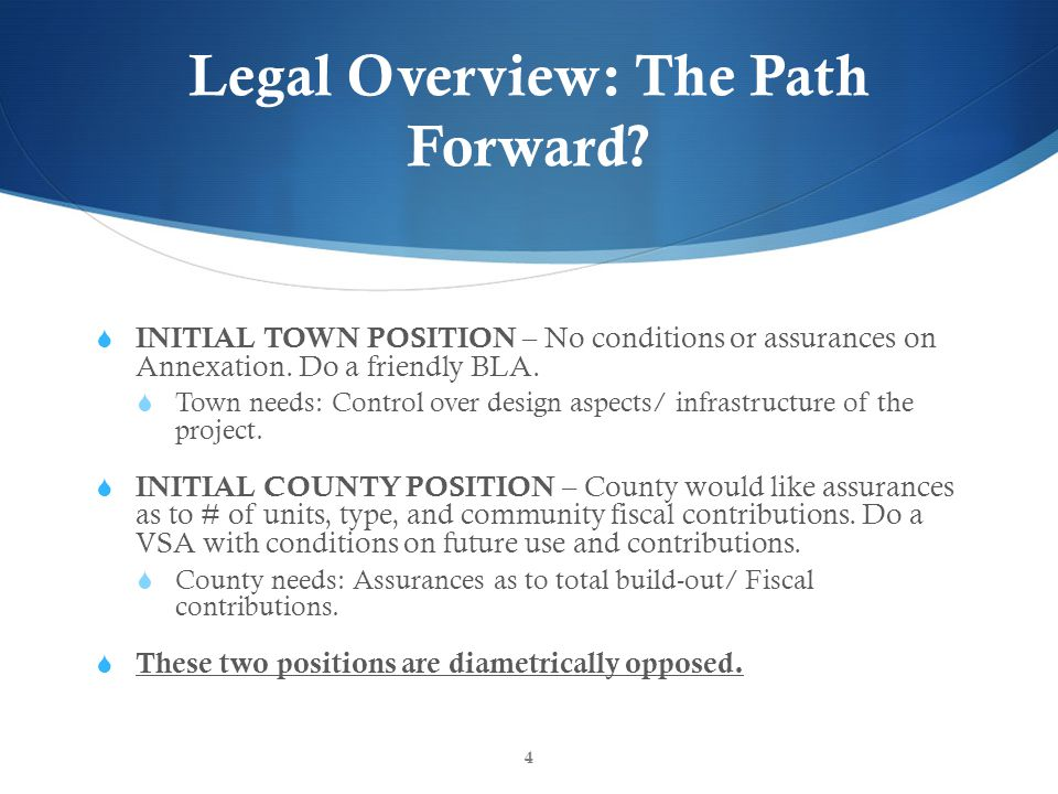 Legal Overview: Summary FRLP would prefer to move forward with a friendly boundary adjustment between the Town and County.