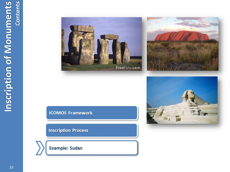 Inscription of Monuments Contents 23 ICOMOS Framework Inscription Process Example: Sudan