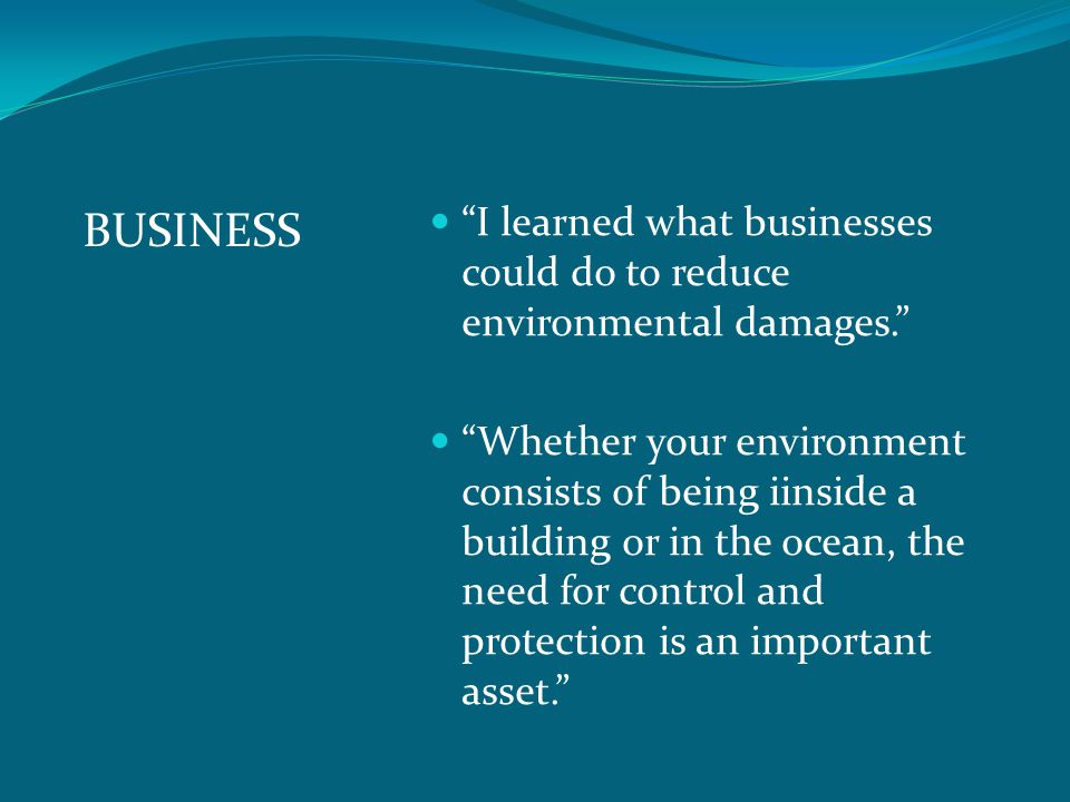 BUSINESS I learned what businesses could do to reduce environmental damages.