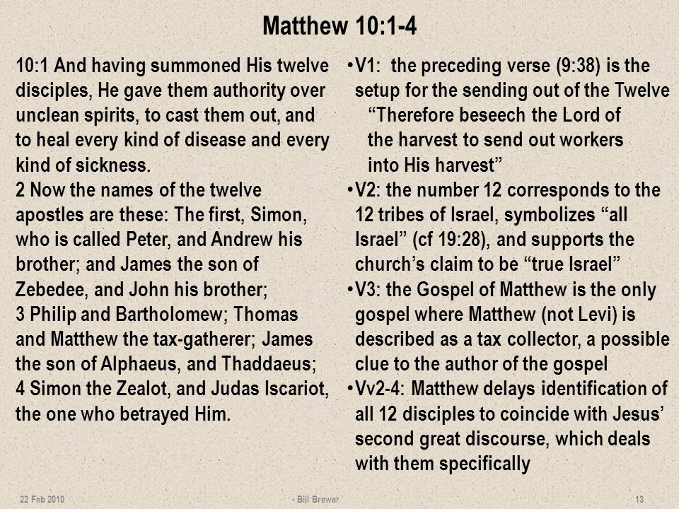 Lists of the Apostles *Bartholomew is traditionally identified with Nathanael in John 1:45; 21:2.