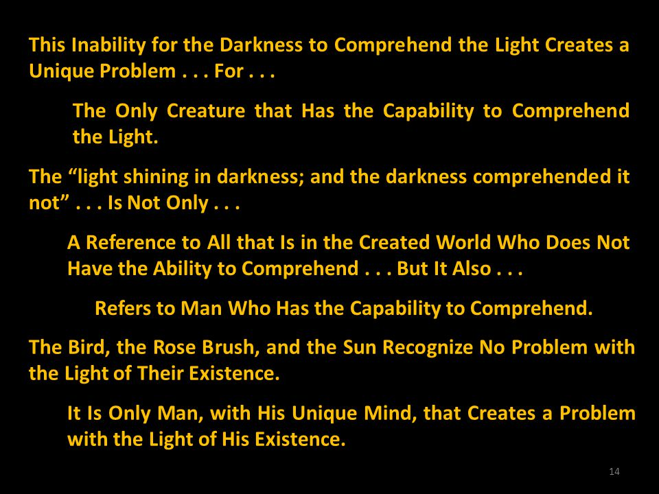 14 This Inability for the Darkness to Comprehend the Light Creates a Unique Problem... For... The Only Creature that Has the Capability to Comprehend