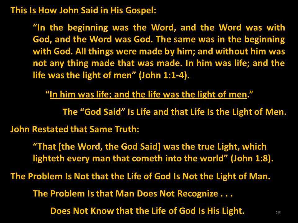 28 This Is How John Said in His Gospel: In the beginning was the Word, and the Word was with God, and the Word was God. The same was in the beginning