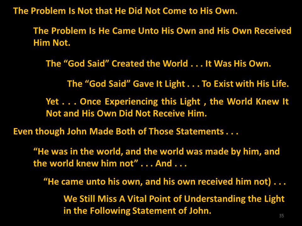 35 The Problem Is Not that He Did Not Come to His Own. The Problem Is He Came Unto His Own and His Own Received Him Not. The God Said Created the Worl