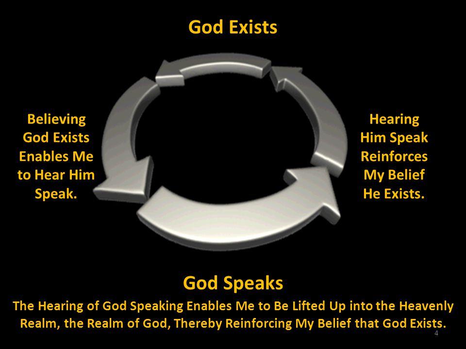 4 God Exists Believing God Exists Enables Me to Hear Him Speak. Hearing Him Speak Reinforces My Belief He Exists. God Speaks The Hearing of God Speaki