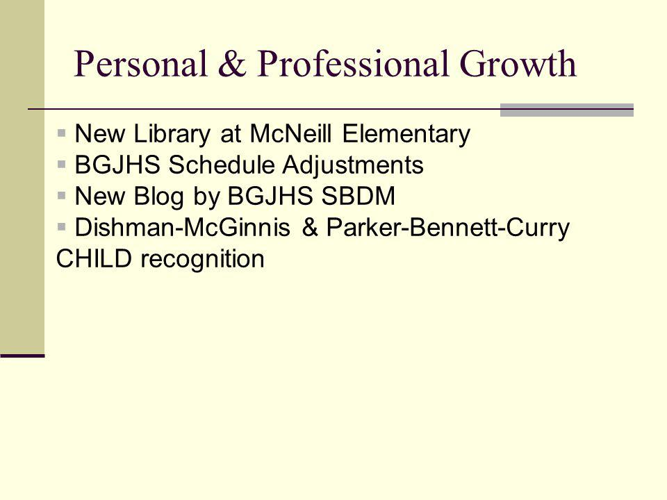 Personal & Professional Growth New Library at McNeill Elementary BGJHS Schedule Adjustments New Blog by BGJHS SBDM Dishman-McGinnis & Parker-Bennett-Curry CHILD recognition