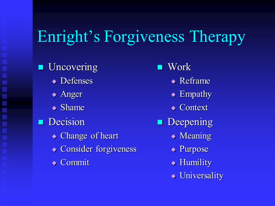 Enrights Forgiveness Therapy Uncovering Uncovering Defenses Defenses Anger Anger Shame Shame Decision Decision Change of heart Change of heart Consider forgiveness Consider forgiveness Commit Commit Work Reframe Empathy Context Deepening Meaning Purpose Humility Universality