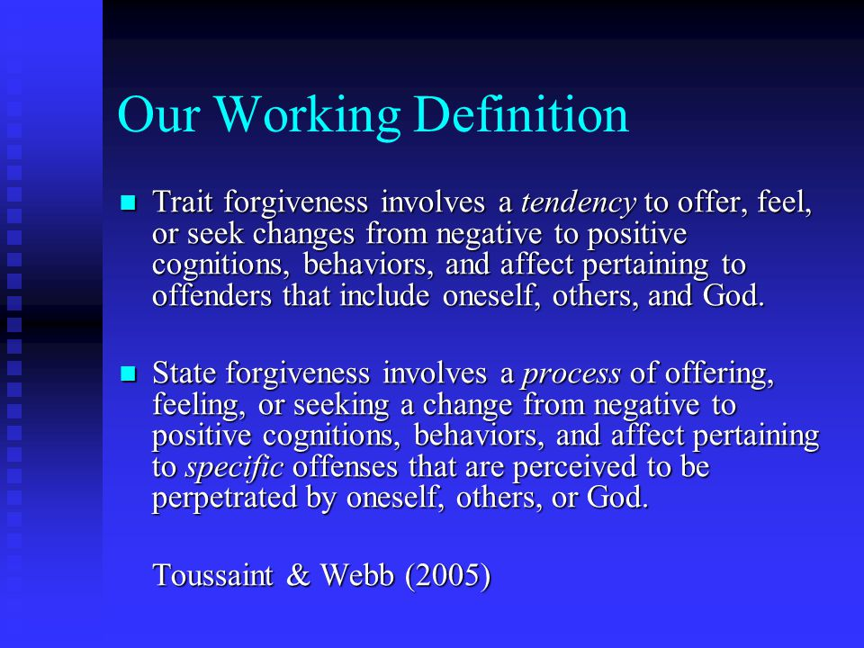 What Forgiveness IS and IS NOT Forgiveness IS Forgiveness IS NOT peace for you and not the offender taking back your power being responsible for how you feel about your healing a trainable skill regaining emotional control a choice a difficult thing reconciliation forgoing justice forgetting something painful condoning unkindness excusing poor behavior denying or minimizing your hurt giving up having feelings about the person who hurt you