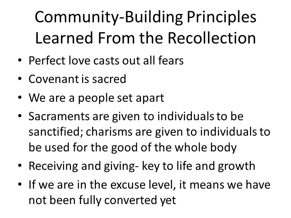 Proposed New BLD Community Culture Statement (Outline) We are Roman Catholic We are Christ-centered We are a covenant community We are witnesses of our transformation in Christ We are evangelized and evangelizing families We are global and local We move in the Spirit We collaborate in ministry We embrace the Catholic social mission We serve the Church