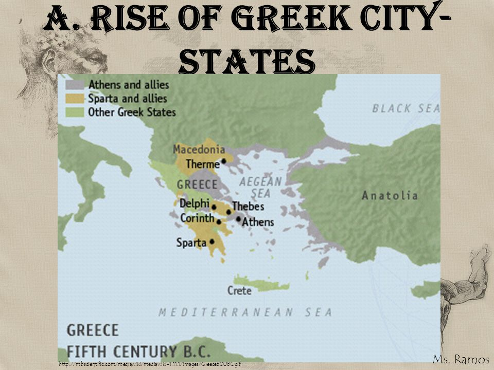 A. Rise of Greek City- States http://mbscientific.com/mediawiki/mediawiki-1.11.1/images/Greece500BC.gif Ms. Ramos
