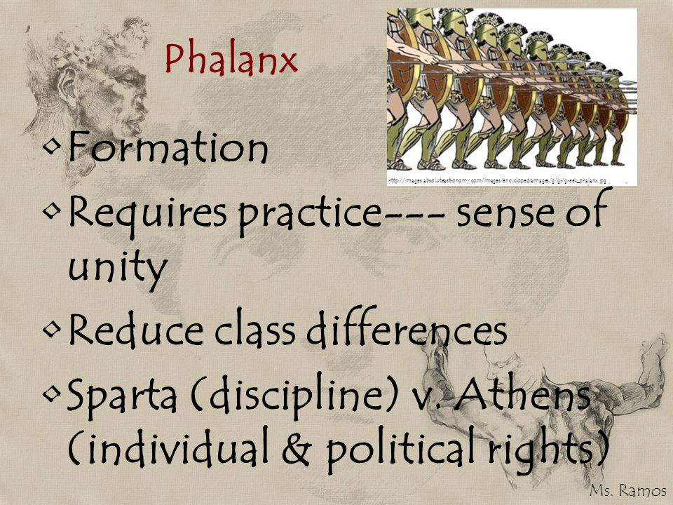 Phalanx Formation Requires practice--- sense of unity Reduce class differences Sparta (discipline) v.