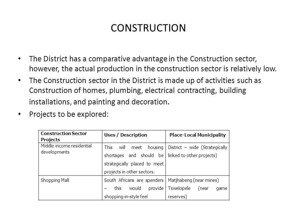 CONSTRUCTION The District has a comparative advantage in the Construction sector, however, the actual production in the construction sector is relativ
