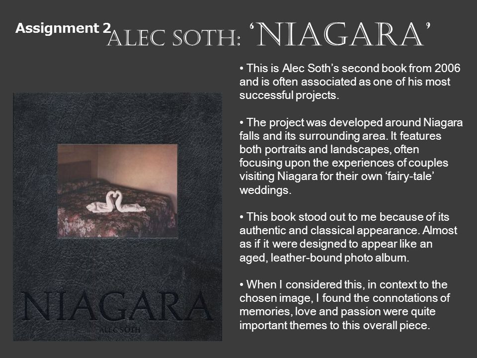 Assignment 2 Alec Soth: NIAGARA This is Alec Soths second book from 2006 and is often associated as one of his most successful projects.