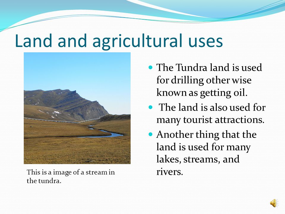 Land And Agriculture uses The type of soil in the tundra is called permafrost.