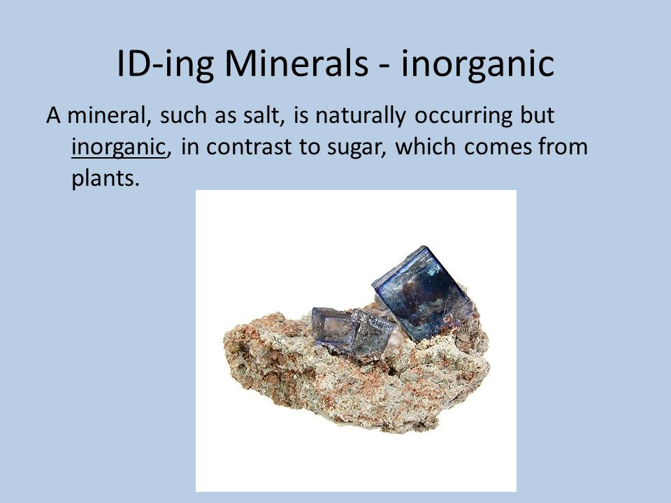 ID-ing Minerals - inorganic A mineral, such as salt, is naturally occurring but inorganic, in contrast to sugar, which comes from plants.