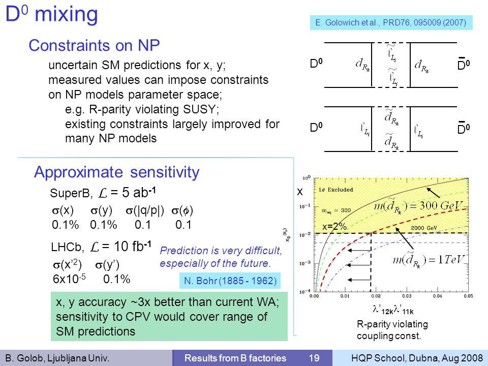 B. Golob, Ljubljana Univ.Results from B factories 19HQP School, Dubna, Aug 2008 D 0 mixing Constraints on NP SuperB, L = 5 ab -1 E. Golowich et al., P