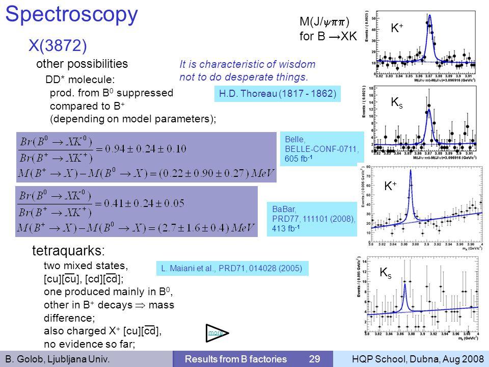 B. Golob, Ljubljana Univ.Results from B factories 29HQP School, Dubna, Aug 2008 Spectroscopy X(3872) other possibilities DD* molecule: prod. from B 0