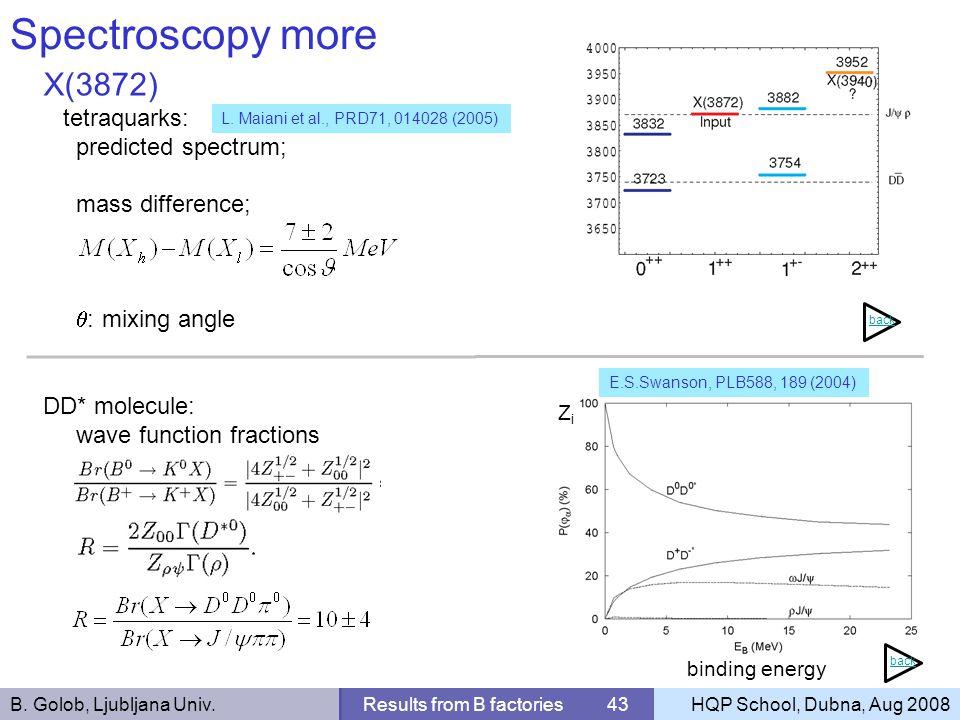 B. Golob, Ljubljana Univ.Results from B factories 43HQP School, Dubna, Aug 2008 Spectroscopy more X(3872) tetraquarks: predicted spectrum; mass differ