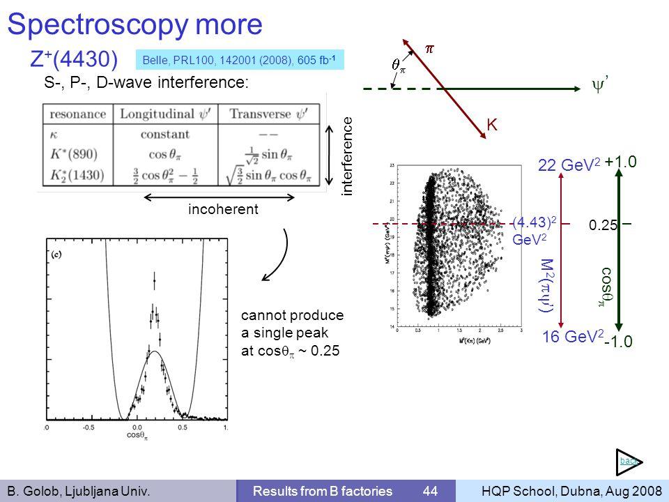 B. Golob, Ljubljana Univ.Results from B factories 44HQP School, Dubna, Aug 2008 Spectroscopy more Z + (4430) S-, P-, D-wave interference: K 16 GeV 2 2