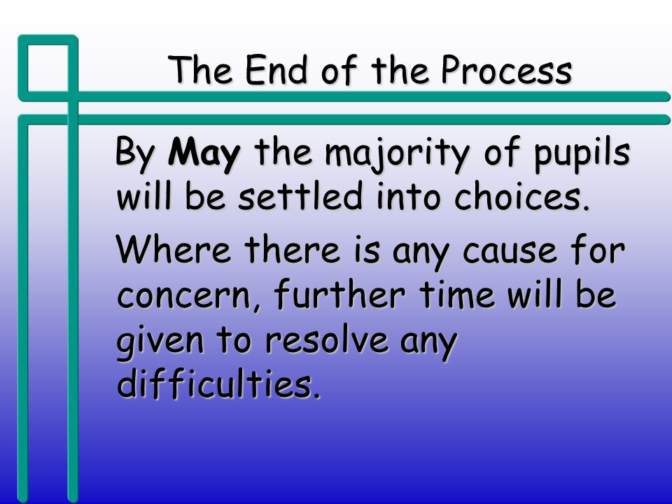 The End of the Process By May the majority of pupils will be settled into choices.