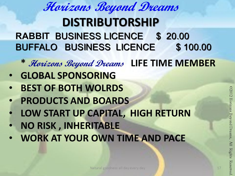 DISTRIBUTORSHIP Horizons Beyond Dreams DISTRIBUTORSHIP RABBIT B USINESS L LL LICENCE $ 20.00 BUFFALO BUSINESS LICENCE $ 100.00 * Horizons Beyond Dreams LIFE TIME MEMBER GLOBAL SPONSORING BEST OF BOTH WOLRDS PRODUCTS AND BOARDS LOW START UP CAPITAL, HIGH RETURN NO RISK, INHERITABLE WORK AT YOUR OWN TIME AND PACE ©2012 Horizons Beyond Dreams, All Rights Reserved.